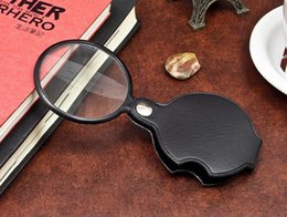 Wholesale Mini Magnifying Glass Portable - Portable Mini Black 50mm 10x Hand-Hold Reading Magnifying Magnifier Lens Glass Foldable Jewelry Loop Jewelry Loupes
