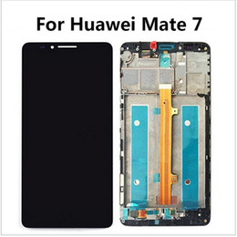 Wholesale Film Assembly - Wholesale- Tempered Glass Film+ For Huawei Ascend Mate7 Mate 7 LCD display+Touch Screen Digitizer high quality Assembly + frame with logo