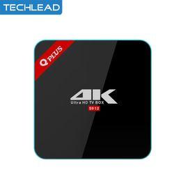Wholesale Top Q - Q Plus Amlogic S912 Android 7.1 TV BOX Octa Core Dual WiFi Qplus Smart Set Top Box 2G 16G 3G 32G 4K Media Player BT4.0 H.265