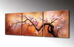 Wholesale Oil Paint Canvas Handmade - Cherry Flower Painting Canvas Wall Art Decor Handmade Oil Painting Modern Home Decoration 3 Panel Tree Painting