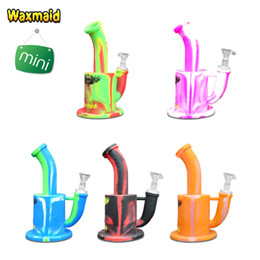Wholesale Cheap Wholesale Bongs - Waxmaid Silicone water bongs 7 inch Magneto S Mini FDA Approved Unbreakable Cheap Dab Rigs Bent Tube for herb and oil 11 Colors