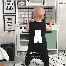 Wholesale Childrens Harem - Kids Boys Letter Cotton Rompers Baby Boys Fashion Harem Jumpsuits Babies Summer Casual Romper 2017 childrens clothing