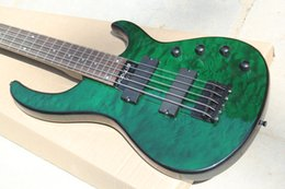 Wholesale Custom Quilts - Custom 5 Strings Modulus Quantum Dark Green Quilt Maple Top Electric Bass Guitar Black Hardware Top Selling