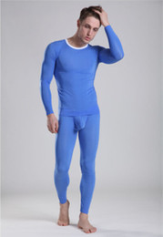 Wholesale Mens Sexy Thermal Underwear - Free shipping Ultra thin Men long johns set tight low waist mens translucent thermal underwear sexy underwears