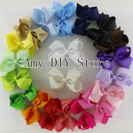 Wholesale Solid Grosgrain Ribbon Hair Bows - 2014 NEW 40pcs lot 4.5'' hair bows WITH clips,girl accessories Grosgrain Ribbon Bows WITH clip,Headwear Hair bows for Baby Girls HJ011+5.5cm