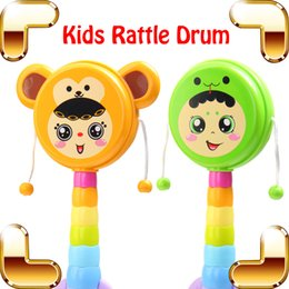Wholesale Music Instrument Percussion - New Coming Gift Baby Rattle Drum Music Toy For Kids Hand Drum Crisp Game Musical Education Toys Instrument Percussion Shaking