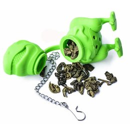 Wholesale green cast iron - Green Silicone Dinosaur Tea Infuser Loose Leaf Strainer Herbal Filter Diffuser