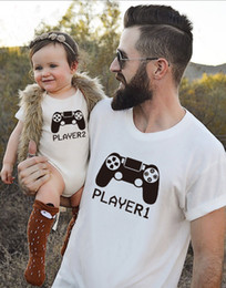 Wholesale New Player Games - New Arrival Father Son Matching Clothes Dad and Baby White Tshirt Set Game Player 1 & Player 2 for Family Matching Outfits