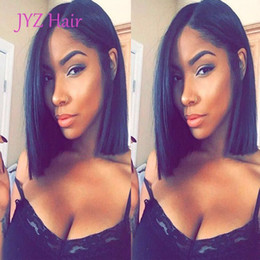 Wholesale Cheap Indian Lace Front Wigs - Cheap Glueless Bob Wigs Virgin Human Hair Lace Front Wigs For Black Women Straight Peruvian Brazilian Indian Full Lace Human Hair Wigs