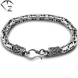 Wholesale Solid Silver Rings Men - GZ 925 Sterling Silver Bracelet Men Jewelry 100% Real S925 Solid Thai Silver Big Bracelets Vintage Good Luck chain