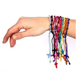 Wholesale String Cross Bracelets - Wholesale New Handmade Lucky Cord Braid Rope Knotted Bracelets Nylon String Cross Bracelets Party Gift free shipping