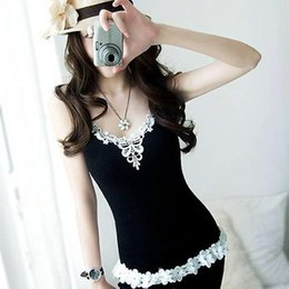 Wholesale Lace Tank Top Bodycon Dress - Fashion- Sexy Women Summer Low-Cut Crop Tanks Tops Lace Floral Tunic Sleeveless Female Lady Casual Vest Dress Camis Bodycon Vestido Robes