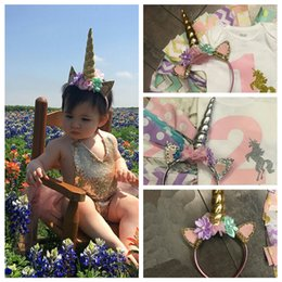 Wholesale Cute Baby Unicorn Horn with Chiffon Unicorn Headband Glitter Hairband Easter Bonus DIY Hair Decorative Accessoriess For Party