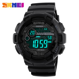 Wholesale Time Shock - SKMEI Men Sports Watches 50M Waterproof Back Light LED Digital Watch Chronograph Shock Double Time F Wristwatches 1243