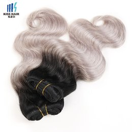 Wholesale European Two Tone Hair - 4 Bundles T 1b Grey Two Tone Ombre Human Hair Weave Bundles Body Wave Colored Brazilian Peruvian Malaysian Indian Virgin Hair Extensions