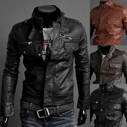 Wholesale Leather Sleeve Denim Jacket - Winter Jackets For Men Outdoor PU Brown Black Fall Winter Spring long Motorcycle Shell leather sleeve denim Mens Jackets Outerwear