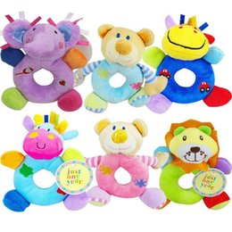 Wholesale Deer Bear - Wholesale- Baby toy 0-12 months kids gift Elephant Lion Bear Deer Cattle Animal Shaped Catoon Hand Bell Ring Rattles Kid Plush Soft Toy