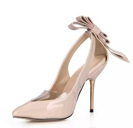 Wholesale Modest Heels - 2017 Dress Shoes Women Pumps High Thin Metal Heels Bow PVC Real Image Party Shoes Sandals Pointed Shoes Hollow Side Cheap Modest Sandals