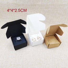 Wholesale Wholesale Black Jewelry Boxes - DIy paper jewelry box with earring card inserts 100box +100 ring  earring cards white brown black gift box earring ring box