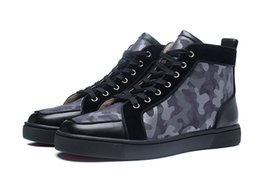 Wholesale Womens Gray Boots - New 2017 Mens Womens Gray And Black Camouflage High Top Red Bottom Sneakers,Brand Flat Boots Fashion Casual Shoes 36-46