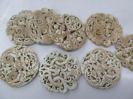 Wholesale Gemstone Focal - 6pcs Fashion Old Jade Ancient Jade Pendant Rare Animals Round Disc Carved Jade Gemstone Bead cream white ivry Focal