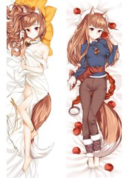 Wholesale Wolf Pillow Covers - hot anime Spice and Wolf characters sexy animal ears girl Holo throw pillow cover okami to Koshinryo Horo body Pillowcase