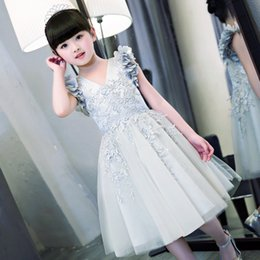 Wholesale Lace Embroidered Christening Gowns - 2017 New Scoop Flower Girls Dresses For Wedding Embroidered Formal Girl Birthday Party Dress Princess 3D Flower Applique Ball Gown Kids