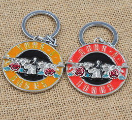 Wholesale Movies N Music - High Quality The Music Band Guns N' Roses G N' R GnR Logo Keychain 5cm Metal Key Chain Ring