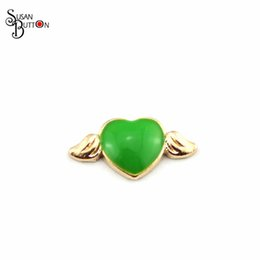 Wholesale Metal Wing Charms Diy - Wholesale 20pcs lots Gold metal Enamel Heart With Wings Floating Charm Diy Floating Locket Charms for glass locket Pendants SJFC938