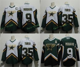 Wholesale Dallas Hockey Jerseys - Dallas Stars #9 Mike Modano 2005 Green White #35 MARTY TURCO 2003 CCM Throwback Home Stitched Vintage Hockey Jerseys Size S-3XL
