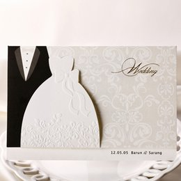 Wholesale Dresses Wedding Invitations - Cheap Sale Engagement Laser Cut Groom & Bride Dresses Wedding Invitations Elegant Dinner party Invite Friend Greeting Cards JJ480