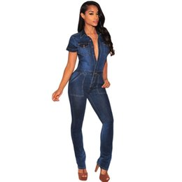Wholesale Overall Trend - Wholesale- 2016 Latest trend dark blue sexy denim jumpsuit women skinny pant long slim jeans femme denim overalls clubwear bodycon A64110