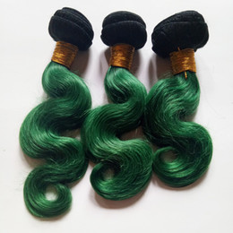 Wholesale Hot Beautiful Sexy Body - Fashion Omber Color Hair Extensions 3 Bundles sexy Elegant And Beautiful ombre Dip Dye 1B green Two tone Hot Beauty Hair Product DHgate
