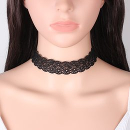 Wholesale Halloween Chockers - 2017 black Lace Chokers Trendy Bijoux Femme Lace Chockers Necklaces Women Collares Mujer Maxi Statement Necklace YR103