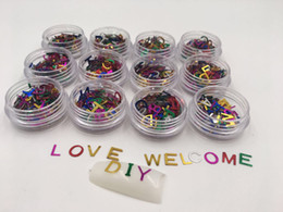 Wholesale 3d Letter Nail - Colorful Metal 26 Letters Design 3D Glitter Nail Art Polish UV Gel Tips Decoration Jewelry Manicure DIY Nails Jewelry Slice Rivet
