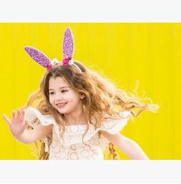 Wholesale Clip Bunny Ears - Kids sticks girls sequins rabbit bunny ear hair clip children stereo flowers handmade girls Mickey Mouse modelling party accessories T4192