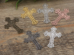 Wholesale Bronze Items - 07588 37*52mm antique bronze silver rose gold gun black filigree crucifix charms for jewelry making, religious item necklace cross pendants