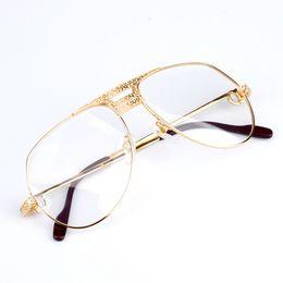 Wholesale Myopia Eyes - Luxury Eyeglasses Frames Men Eyeglasses Women Diamonds Metal Frame Eye Clear Myopia Glasses Original Eyewear Box Free Shipping