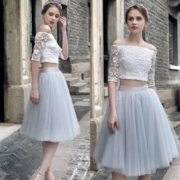 Wholesale Tutu Cocktail Dresses Pink - 2017 Two Pieces Off The Shoulder Lace Top Cocktail Dresses With Tutu Tulle Skirts Illusion Half Sleeves Homecoming Gowns Short Prom Dress