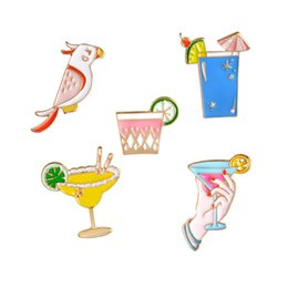 Wholesale Parrot Clothes - 5Pcs Summer Style Cock Brooch Lemon Cup Parrot Beach Cups Clothing Pin Badge Brooch Jewelry