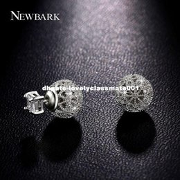 Wholesale Push Jewelry - dhgate Korean Style Ball Stud Earrings Double Side Wear Tiny CZ Hollow Romantic Cute Round Flower Bud Push Back Ear Jewelry