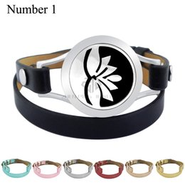 Wholesale Middle East Flowers - With Magnet Lotus Design 25mm Black Genuine Leather Stainless Steel Bangle Essential Oils Diffuser Locket Leather Bracelet