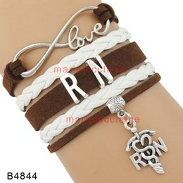 Wholesale brown leather infinity bracelet - Customizable Infinity love RN Bracelet RN charm Bracelet White brown leather warp Bracelet custom Any Themes Drop shipping