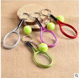 Wholesale Badminton Keychains - Mini Tennis Badminton ping-pong bowling sports keychains cute metal keychains Individuality present three styles can choose