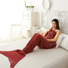 Wholesale Knit Queen Blanket - Mermaid Tail Blanket Crochet Mermaid Blanket Knitted Blanket Super Soft Sleeping Bag Mermaid Throw Blankets