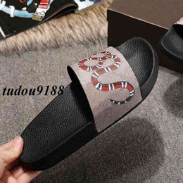 Wholesale Snake Sandals - mens and womens fashion snake print leather flat slide sandals with rubber sole size euro 35-45