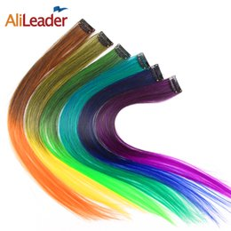Wholesale Hair Green Highlight - Wholesale- AliLeader 20 Colors Highlight Ombre Red Green Blue Blonde Clip In Hair Extensions Synthetic Hair Piece Clip On 1 Piece 50CM