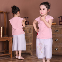 Wholesale Tang Kids - 2017 Summer Girl Clothes Sets Cotton Short Sleeve Chinese Traditional T-Shirts Pants Children Clothing Suit Kids Outfits Tang Jumpers Shirt