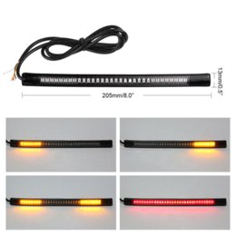 Wholesale Tail Motorcycle Turn Signals - 48LED Flexible Motorcycle License Plate Light Red And Amber Tail Brake Stop Turn Signal Lamp With 50CM Cable Wire