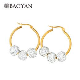 Wholesale Good Earrings For Sale - Wholesale- Baoyan Stainless Steel Good Color Big Hoop Earrings For Women Move 29MM Crystal Ball Hoop Earrings For Women Hot Sale brincos